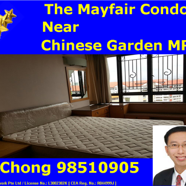 Near Chinese Garden MRT - 3 Bedder The Mayfair Condo for Rent