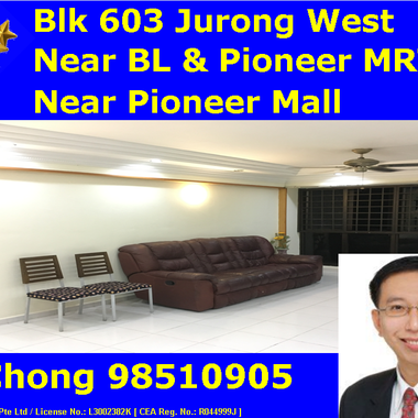 Near Pioneer MRT/ Pioneer Mall - 3+1 Blk 603 Jurong West Street 62 Whole Unit for Rent