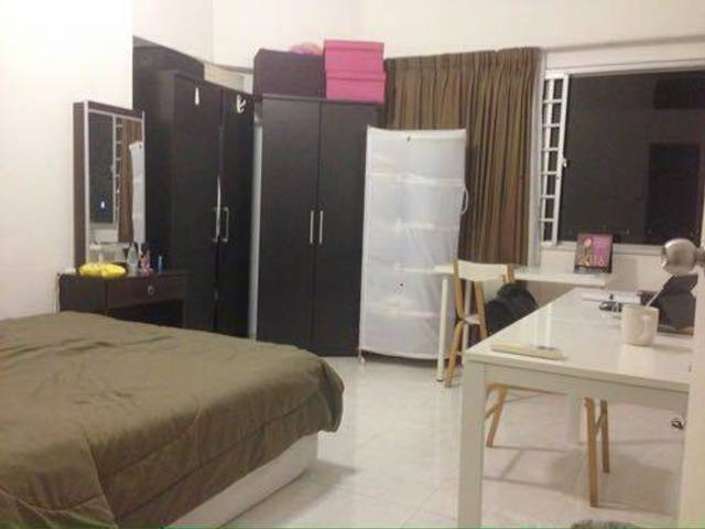 Lavender MRT Air-conditioned Master Bedroom with Attached Bath.