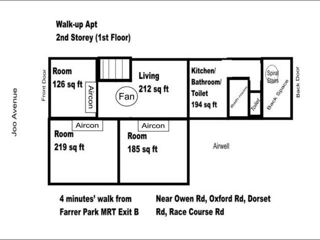 Behind Rangoon Rd - 4 minutes' walk from Farrer Park MRT Exit B - Walk-up Apartment 3 Bedroom Studio