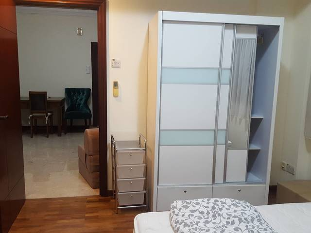 Spacious room with adjacent bathroom in a condo, no owner staying, only 3 occupant in the whole unit